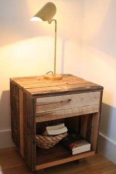 reclaimed wood nightstand| Apartment Therapy