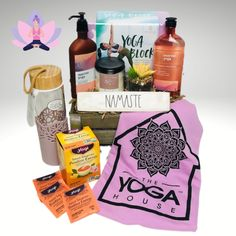 Great idea for the for the yogi in your life and add a gift certificate from the #yogahousebrandon #yoga #yogabasket #yogainspiration Yoga Gift Basket, Gift Baskets, Starry Night Wedding, Yoga Block, Yoga Gifts, Gift Certificates, Corporate Gifts, Yoga Inspiration, Customized Gifts