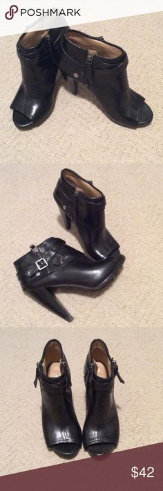 Nine West peep toe booties Black Peep Toe booties with side zipper. Only worn a few times. Nine West Shoes Ankle Boots & Booties