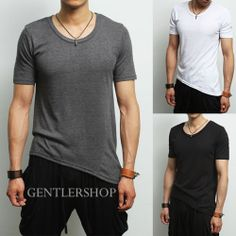 Avant-garde Mens Fashion Unbalanced Oblique Hem Short T-Shirts,