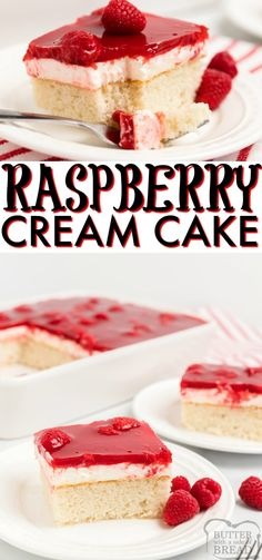 Raspberry Cream Cake begins with a white cake mix that is topped with sweet whipped cream raspberries and danish dessert. Wonderful raspberry cake recipe with great flavors! Oreo Dessert, Dessert Cake Recipes, Delicious Cake Recipes, Best Dessert Recipes, Dessert Bars, Cupcake Recipes, Yummy Cakes, Baking Recipes, Mini Desserts