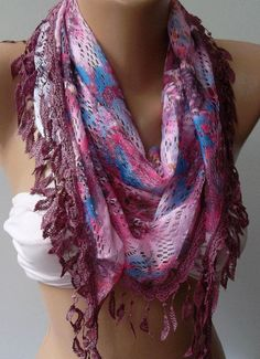 Pink / Elegance  Shawl / Scarf with Lacy Edge by womann on Etsy, $13.50