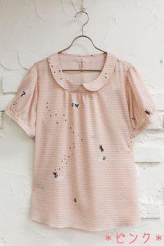 [Official mail order Franche Lippe official web shop-L size, mini size, sports, miscellaneous goods] franche lippee official web shop - Brick blouse and [L size] cat