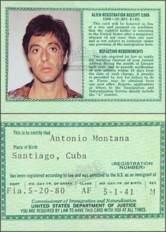 Tony Montana's Green Card ~ Scarface, 1983 Scarface Movie, Scared Face, Drugs Art, Lil Peep Hellboy, Art Love Couple, Movie Reels, Cinemagraph, Marlon Brando, Aesthetic Collage
