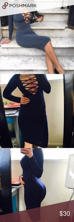 NWT Lace Up Dress Beautiful navy colored cotton blend dress. This is NWT and was only worn for pictures. Lovely dress! Dresses Midi
