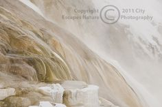 Limited Edition Nature Art Print. Winter's Muted Palette -- Canary Springs. Landscape photograph:  Mountains Water, Mammoth Hot Springs, Yellowstone National Park, Wyoming, Canary Springs, hot springs, winter, snow, steam, limestone