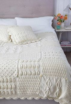 Make this stunning patchwork bedroom set with a variety of decorative textured stitches. With a stocking stitch backing layer, they're super warm and cosy. An advanced knitting pattern project for an experienced knitter. Crochet Bedspread, Crochet Quilt, Crochet Wall Hangings, Crochet Supplies, Easy Knitting Patterns, Cushions, Pillows, Bed Throws, Knitted Blankets