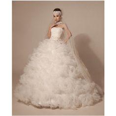 ウェディングドレス・プリンセスライン オフホワイト・編み上げタイプ 花嫁ドレス/結婚式/披露宴/二次会 ブライダル 高品質