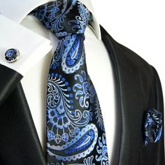 Paisley Necktie Set by Paul Malone. Blue and Black. 100%Silk. Includes pocket square & cuff links (551CH) for $29.90 and FREE shipping