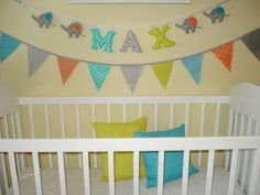 Bunting banner flags Gray Orange Teal ,Fabric Flags, Baby Nursery Decor, PhotoProp, Garland, boys room,party banner flags