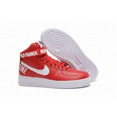7f16e73f3 Mujer Clásico Nike Air Force 1 Alto Retro Rojo Blanco Zapatillas de correr   MujerNikeBaratos
