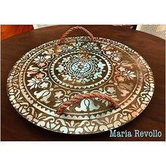 We are so in love with this wooden stenciled tray by Maria from She turned a simple piece of wood into a beautiful tray using the Prosperity Mandala Stencil! Large Wall Stencil, Stencil Painting On Walls, Stencil Diy, Stencil Designs, Stenciled Table, Stenciled Floor, Paint Furniture, Furniture Decor, Rustic Furniture