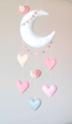 This handmade felt mobile is made of silicone fiber. Nice cell phone with moon, hearts and two tende Baby Crafts, Felt Crafts, Diy And Crafts, Crafts For Kids, Baby Room Decor, Nursery Decor, Diy Bebe, Felt Baby, Handmade Felt