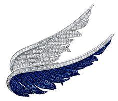 Van Cleef & Arpels  wings brooch sapphire diamond  we need red wings -  michigan