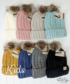 6e52797bc391d KIDS Sherpa Lined Fur Pom CC Beanies – Rose Gold Vintage