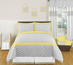 Yellow and Gray Zig Zag Childrens, Kids, Teen Bedding 3pc Full / Queen Set by Sweet Jojo Designs by Sweet Jojo Designs. $99.99. This design has matching accessories such as hampers, lamp shades, window treatments and wall decor.. This set is made of 100% cotton and is machine washable.. This set uses a modern gray and white Zig Zag print combined with yellow and white solid cottons. Dimensions: Lightweight Comforter - Full/Queen (86in x 86in), Standard Shams (20in x 26in). 3 Pie...