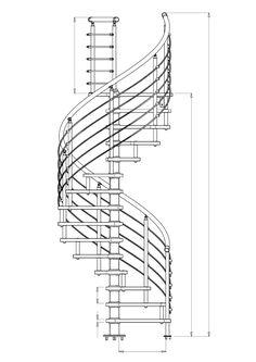 """Varios planos en 2D de escaleras de caracol y en """"L"""" Escalera en forma de """"L"""""""