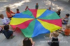 Parachute basics: The hello game Parachute basics: The hello game by Teach Preschool Parachute Songs, Parachute Games For Kids, Gross Motor Activities, Movement Activities, Activities For Kids, Outdoor Activities, Teach Preschool, Preschool Music, Baby Storytime