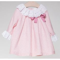 Pink dress with embroidered strip and bow by Fina Ejerique Baby Girl Dress Patterns, Baby Dress Design, Little Girl Dresses, Girls Dresses, Sewing Baby Clothes, Vintage Baby Clothes, Sexy Costumes For Women, Girls Sweaters, Toddler Dress