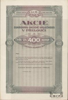 A0072 / Muzeum cennych papiru / Cukrovar akciové společnosti v Přelouči 400 Kč Přelouč 1921 / AZP3CZ041