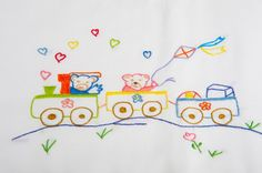 The ideal baby gift: a hand embroidered baby bedding, a cotton sheet and pillowc… – childsroom Baby Embroidery, Embroidery Stitches, Embroidery Patterns, Stitch Patterns, Baby Sheets, Cotton Sheets, Cotton Bedding, Newborn Gifts, Baby Gifts