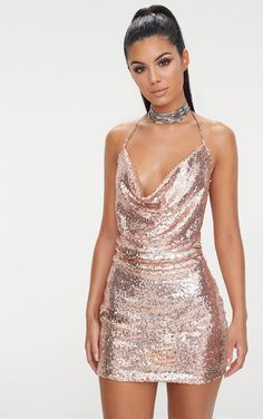Rose Gold Sequin Chain Choker Mini Dress Rose Gold Sequin Chain Choker Mini DressHave the dress of the season with this sequin must have. Hoco Dresses, Club Dresses, Pretty Dresses, Sexy Dresses, Dress Outfits, Fashion Dresses, Formal Dresses, Clubbing Dresses, Quinceanera Dresses