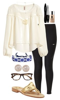 """Ootd "" by madelyn-abigail ❤ liked on Polyvore featuring NIKE, H&M, Jack Rogers, Carolee, Clinique, Lancôme, Ray-Ban, women's clothing, women and female"