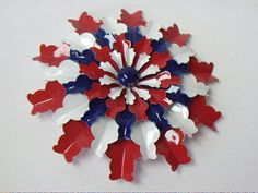 Vintage Red White & Blue Flower Power Enameled Brooch Pin via Etsy