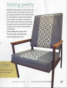East Coast Living Magazine Spring 2014  Featured chair by Carte Blanche Upcycled Furniture & Accessories in Aubusson Blue and Pure White Chalk Paint™ decorative paint by Annie Sloan