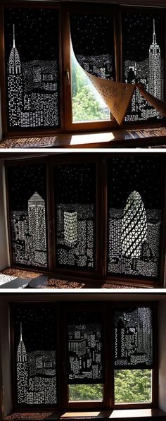 Buildings and Stars Cut into Blackout Curtains Turn Your Windows Into Nighttime Cityscapes - home sweet home - City Blinds, Blackout Blinds, Diy Blackout Curtains, Window Curtains, Blackout Shades, Black Out Curtains Bedroom, Room Window, Apartment Curtains, Glass Door Curtains