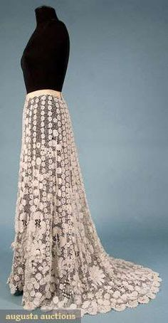Edwardian 1910 Irish Crochet intricate floral and net skirt with sweeping train. Photo: Museum Fashion & Textile Sale New York City.