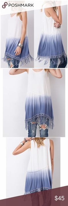 ❗️CLOSING SALE❗️Sleeveless Tunic with Fringe Hem Sleeveless Dip Dye Tunic Sleeveless baby rib knit dip dye tunic featured bottom fun crochet fringe detailing  Fabric: rayon ;Content: 95% rayon, 5% spandex  Fits true to size B Chic Boutique Tops Tunics