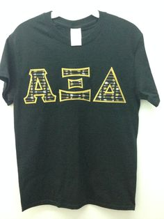 Alpha Xi Delta Sorority Small Black T Shirt with Greek Letters -- Ready to Ship! by GoneGreek on Etsy