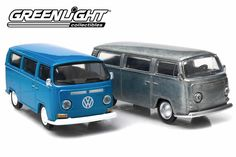 Volkswagen Type 2 Bus (1968-1970 T2A, 1970-1979 T2B) – Modelmatic Volkswagen Type 2, Volkswagen Models, Car Set, Stitching Leather, Scale Models, Classic Cars, Metal, Blue, Vintage Classic Cars