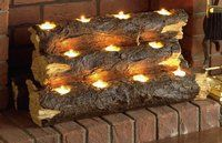 Tea Light Logs for Faux Fireplace
