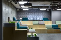 Coffee-points, windowsills-benches with soft cushions, a lounge area in a shape of amphitheater may serve as for a work, communication, and for making presentations, parties or lectures.
