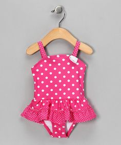 Take a look at this Pink Polka Dot One-Piece - Infant, Toddler & Girls by Al & Ray on #zulily today!