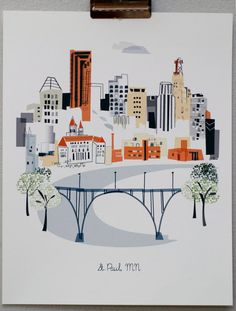 Show some love for your favorite city with our collection of amazing original city illustrations and prints from Albie Designs. Perfect for every home. Minnesota Home, Illustrations, Minneapolis, Decoration, Screen Printing, Saints, Design Inspiration, Kitchen Inspiration, Design Ideas
