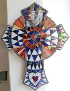 Mosaic Celtic Cross by FreshwaterMosaics on Etsy