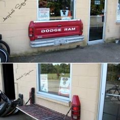 Truck bed upcycled into a bench. I wouldn't put this on my house, but probably on my shed.