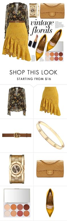 """Smell the Roses: Vintage Florals"" by polyfattie ❤ liked on Polyvore featuring Robert Rodriguez, Chicwish, Gucci, Cartier, Chanel, Aquazzura, vintage and vintageflorals"