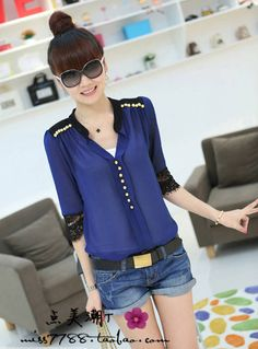 Free shipping 2013 spring loose chiffon yarn clothing women's long-sleeve shirt slim stand collar half sleeve lace top $23.83