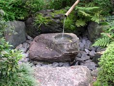 Japanese Water Feature, Small Japanese Garden, Japanese Garden Design, Japanese Gardens, Garden Landscape Design, Garden Landscaping, Bamboo Fountain, Stone Basin, Bamboo Garden