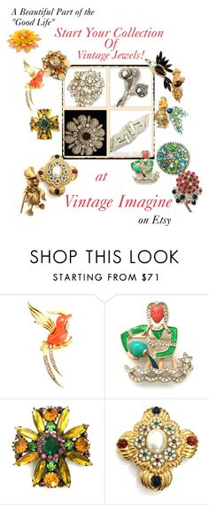 """""""Vintage brooches on SALE NOW!"""" by vintageimagine ❤ liked on Polyvore featuring Ciner, vintage, women's clothing, women's fashion, women, female, woman, misses and juniors"""
