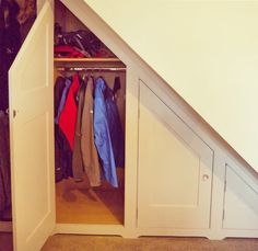 We specialise in designing, making and fitting of furniture for attic and under eaves cupboards to create bedrooms, dens and home offices. Under stairs cubp Cupboard Storage, Interior Stairs, Stairs Design, Hallway Storage, Coat Cupboard, Open Stairs, Home, Under Stairs Cupboard, Stair Decor