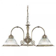 Searchlight 9343-3   American Diner 3 Light Antique Brass Ceiling Light