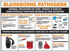 Safety Posters: Bloodborne Pathogens Universal Precautions For Those Exposed To Blood Or Other Potentially Infectious Materials In Their Occupation - Osha Bloodborne Pathogens, First Responder Training, Nevada, Isolation Precautions, Infection Control Nursing, Las Vegas, Safety Posters, Workplace Safety, Dental Assistant