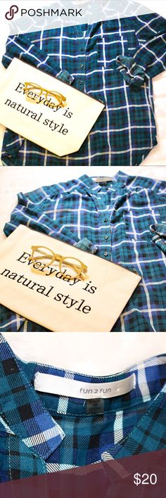 🆕Striped Button-Up Shirt 🔹Blue and green striped button up shirt.🔹Nice, flowy material.🔹Long sleeves.🔹Size small.🔹Smoke free home.🔹I package all my boxes with love and care.🔹I accept reasonable offers or bundle for automatic discount.🔹No trades/PayPal/Merc fun 2 fun Tops Button Down Shirts