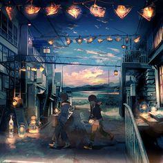 work | くっか Vocaloid, Eve Music, Illustration Story, Pretty Drawings, Scenery Wallpaper, Aesthetic Themes, Environmental Art, Anime Scenery, Anime Art Girl