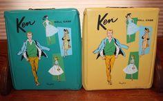 2 Vintage 1961 Mattel Ponytail Ken Doll Cases 2 Compartments & Hanging Bar    eBay